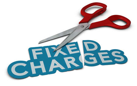 cutting costs: Word fixed charges cut in two parts, symbol of Stock Photo