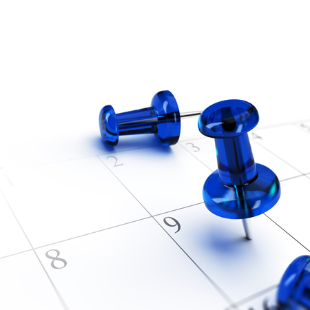 meeting agenda: One blue pushping pointing a schedule over white background. concept of setting an appointment.