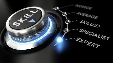 Moderne Switch mit dem Wort Fähigkeiten auf der Oberseite mit den Worten: Anfänger, Durchschnitt, qualifizierte, fachliche und Experten um ihn herum. Schwarz backgorund. Konzept der Ausbildung