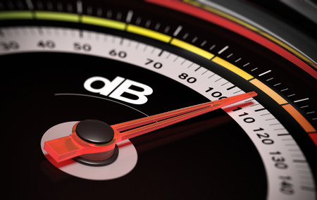 Decibel measurement. Gauge with green needle pointing 105 dB, concept of noise level 스톡 콘텐츠