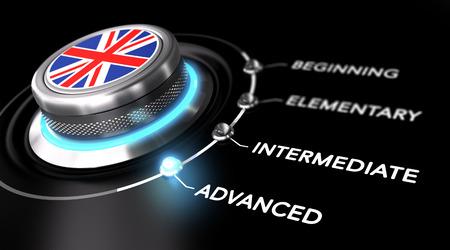 drapeau anglais: Interrupteur moderne pointant le mot avancé. Backgorund Noire. Concept des cours d'anglais ou de niveau de compétence linguistique