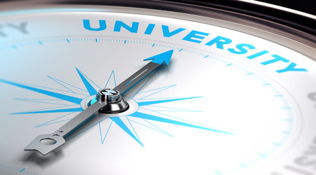 choose university: Choosing an university concept. 3D image with a compass with needle pointing the word university. Blue and white tones.