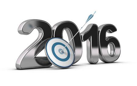 two thousand: 3D metallic Year 2016 with a target at the foreground with an arrow hitting the center, concept image for achieving business objectives in two thousand sixteen. Stock Photo