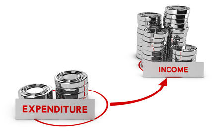 place of interest: Generic coins over white background, expenditure is lower than income, symbol of commercial profits or profitability.