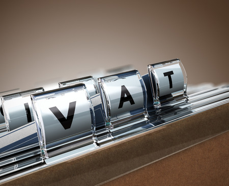 vat: File tab with focus on VAT, beige background. Image concept for illustration of Value Added Tax Stock Photo