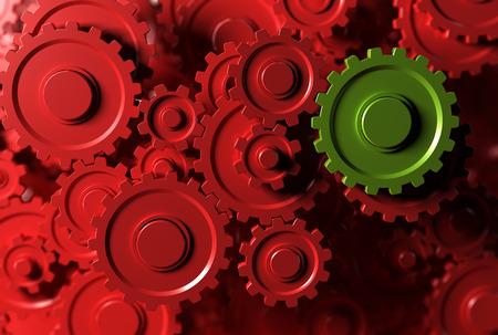 lider: engranajes o ruedas dentadas trabajando juntos, transmisión de movimiento. Concepto de trabajo en equipo o líder