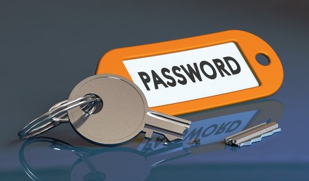 flaw: Broken key with keyring where it is written the word password, concept of security flaw or software vulnerability.