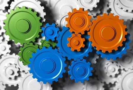 Gears of tandrad samenwerken. Concept afbeelding voor teambuilding of teamwork. Stockfoto