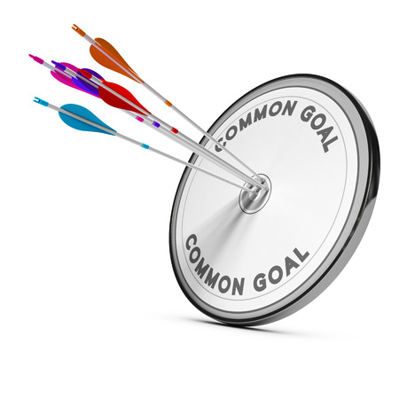 Many arrows hitting the same target, Concept image for business cooperation or common goal.