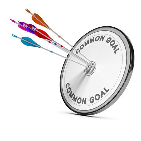cooperacion: Muchas flechas golpear Imagen del concepto mismo objetivo, para la cooperación empresarial o meta común.