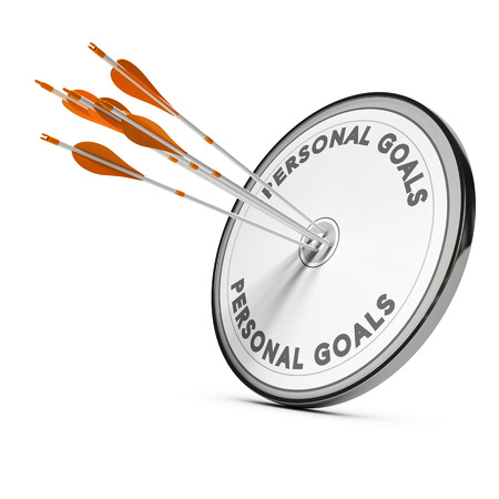 define: Many arrows hitting the same target Concept image for business personal goals or self confidence coaching. Stock Photo