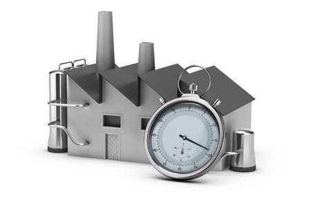 Illustratie van de productiviteit. 3D render van een fabriek en een stopwatch. Afbeelding op een witte achtergrond.