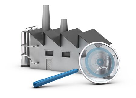 benchmarking: Illustration of benchmarking. 3D render of a factory and a magnifier with a target inside. Image over white background. Stock Photo