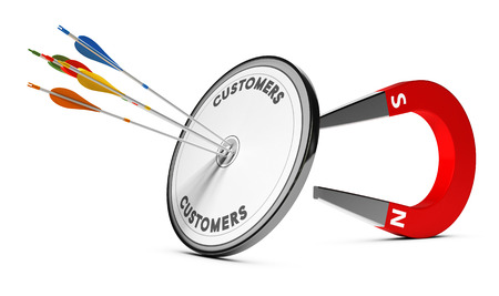 One target with many colorfull arrows hitting the center with a horseshoe magnet at the background. Concept image suitable for inbound marketing purpose or winning new customers illustration. Banque d'images