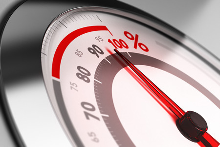 Percent meter with the needle pointing very close to one hundred. Concept of excellence or full capacity. Stock Photo