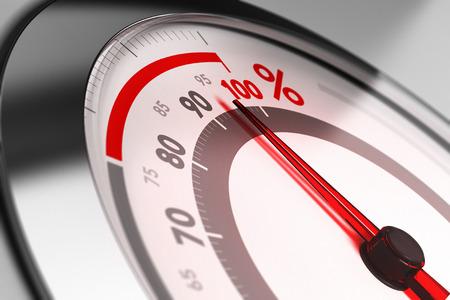 Pour cent mètre avec l'aiguille pointée très près d'une centaine. Concept d'excellence ou pleine capacité.