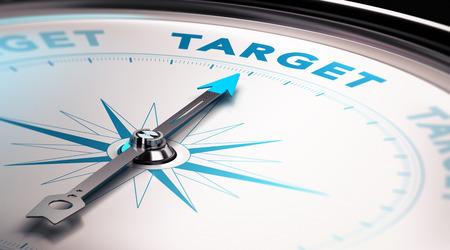 planeación estrategica: Aguja de la brújula que señala la palabra objetivo, concepto de anuncio o público objetivo