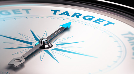 achieve goal: Compass needle pointing the word target, Concept of advertisement or target audience Stock Photo