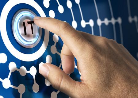 Finger nhấn nút IT với hình minh họa mạng xung quanh. Tông màu xanh. Công nghệ Thông tin khái niệm.