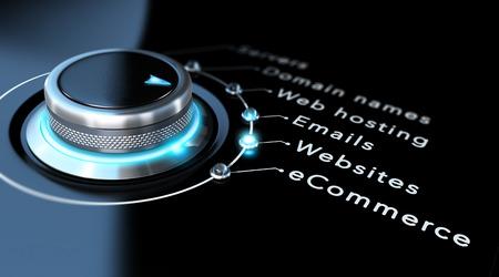 Web concetto di società di progettazione. Tasto di interruttore che punta a siti web, sfondo nero e blu disegno Archivio Fotografico - 40953843