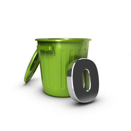 緑箱に対して数ゼロ。ゼロ廃棄物の目的のための概念図。 写真素材