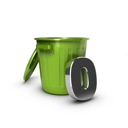 Number zero against a green bin. Concept illustration for zero waste objective.