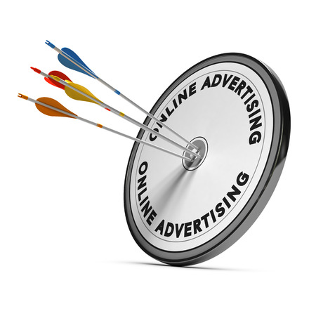 targeted: Many arrows hitting the same target, Concept image for business online advertising goals or marketing. Stock Photo