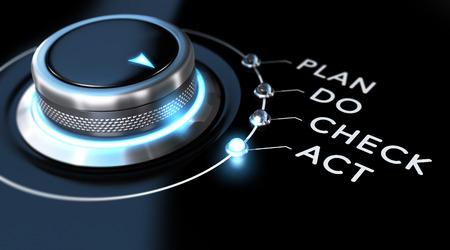 푸른 빛, 검은 배경 버튼을 전환합니다. PDCA 그림 또는 비즈니스 프로세스 개선을위한 개념적 이미지입니다.