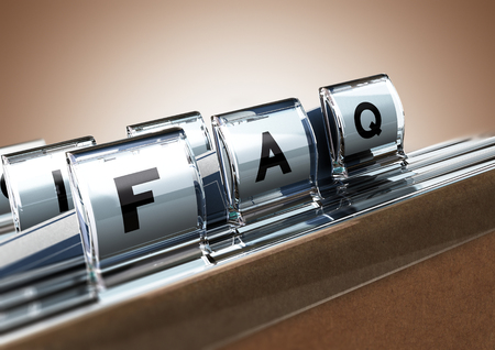 frequently: File tab with focus on FAQ, beige background. Image concept for illustration of Frequently Asked Questions Stock Photo