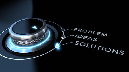 Interruptor de solução posicionado sobre as soluções da palavra sobre fundo preto e azul. Conceito de resolução de problemas.