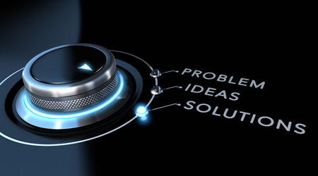 problem solved: Solution switch positioned on the word solutions over black and blue background. Concept of problem solving. Stock Photo