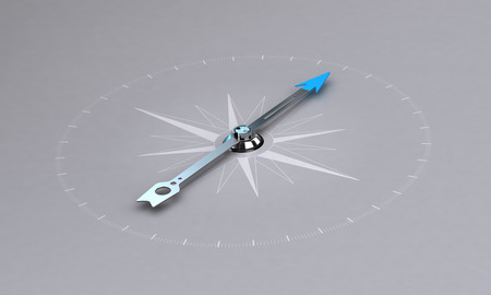 orientation: Perspective illustration of a compass over light grey background, symbol of orientation and good direction. Stock Photo