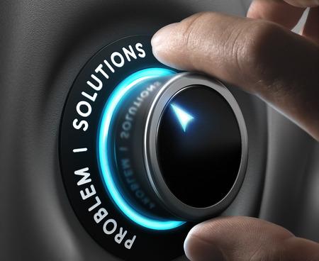 Soluzione interruttore posizionato sulla parola soluzioni su sfondo grigio con luci blu. Concetto di problem solving.