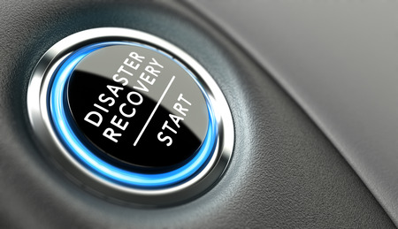 DRP スタート ボタン。災害の復旧計画コンセプトや危機ソリューション。