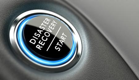 crisis economica: DRP botón empezar. Recuperación de Desastres concepto Plan o soluciones a la crisis.