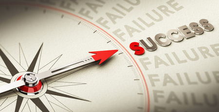 Compass pointing the word success made in magnetic material over old fashioned paper, concept for motivation purpose