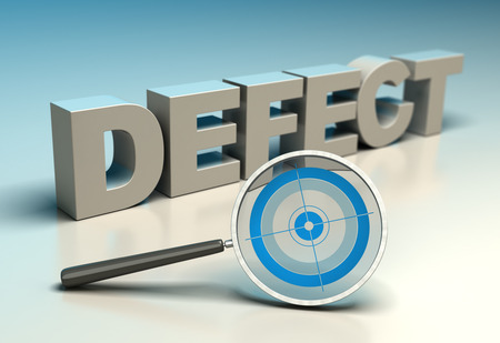 defect: Word defect with magnifier and target. Concept of zero defects or tqm