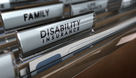 insurance policy: File with focus on the text Disability Insurance and blur effect. Concept of individual protection.