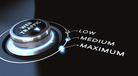 Webverkeer concept. schakelaar gepositioneerd op maximum. Zwarte achtergrond en blauwe lichten.