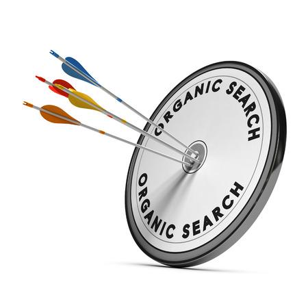 Organische zoekresultaten op een doel met vier pijlen raken het midden, concept voor online zichtbaarheid Stockfoto