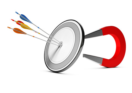 One target with many colorfull arrows hitting the center with a horseshoe magnet at the background. Concept image suitable for advertising and marketing purpose or communication illustration.