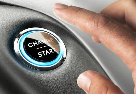 evolucion: Finger punto de pulsar un botón de cambio. Concepto de gestión de cambios o cambio de vida