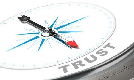 Kompas met naald naar het woord vertrouwen, vertrouwen begrip over witte achtergrond. Stockfoto
