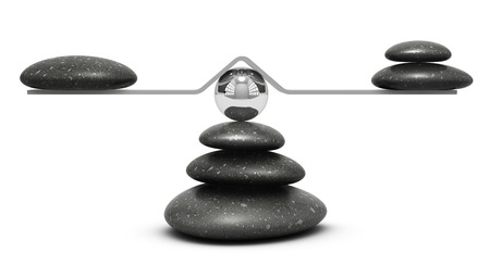 equivalence: pebbles on a seesaw over white background, equilibrium concept or symbol
