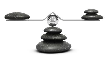 kinh doanh: sỏi trên một trò chơi bập bênh trên nền trắng, khái niệm cân bằng hoặc biểu tượng