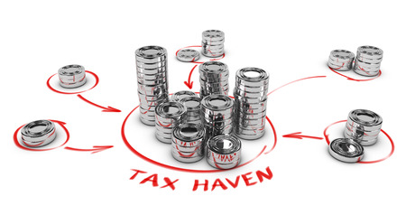 swindle: Stacks of generic coins over white background with arrows pointing the center. Conceptual image for tax evasion. Tax haven illustration