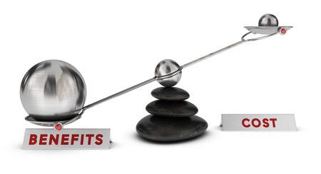 Zwei Kugeln mit verschiedenen Größen auf einer Wippe plus zwei Zeichen Kosten und Nutzen über weißem Hintergrund, Marketing-Analyse-Konzept oder Symbol