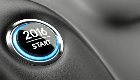 2016 bouton poussoir. Concept de nouvelle année deux mille seize ans. Banque d'images