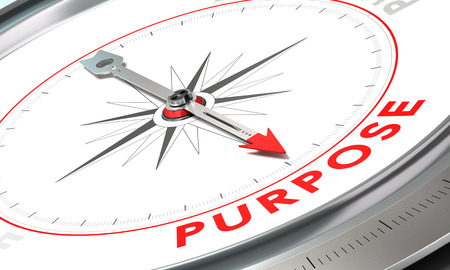 Compass with needle pointing the word purpose. Conceptual illustration for achieving goals.