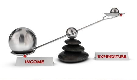 expenditure: Two spheres with different sizes on a seesaw with the words income and expenditure over white background, profit or ROI concept. Stock Photo